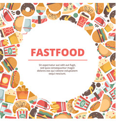 fast food circle background burger meal cold vector image