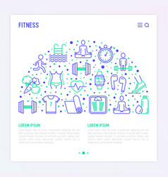 Fitness concept in half circle vector