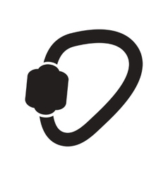 Flat icon in black and white style carabiner tool vector
