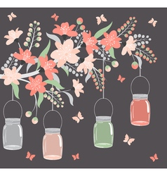 Floral Branch With Jars vector image