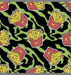 French fries seamless pattern vector