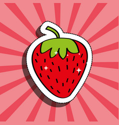 fresh strawberry delicious fruit drawing sticker vector image