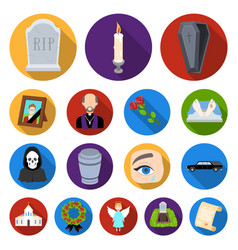 funeral ceremony flat icons in set collection for vector image