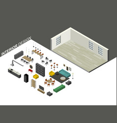 Furniture set in isometric view vector