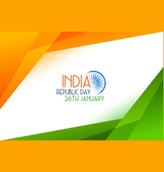 Geometric style tricolor indian republic day vector