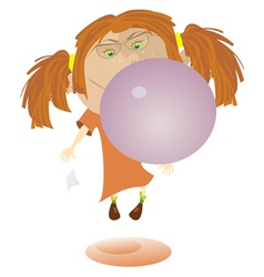 Girl and bubble gum vector