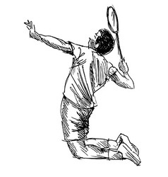 Hand sketch badminton player vector image