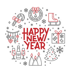 Happy new year line icon holiday lettering banner vector