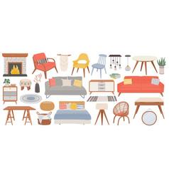 hygge furniture for home cozy interior decor vector image