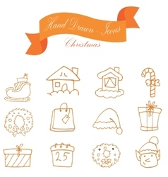 Icon set of Christmas collection vector image