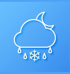 Icon weather moon cloud sleet vector