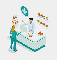 Isometric pharmacy store and doctor pharmacist vector