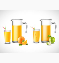 jugs with apple and orange juice vector image