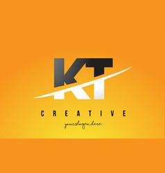 Kt k t letter modern logo design with yellow vector