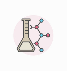 Laboratory flask with molecule icon vector