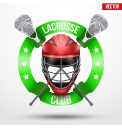 Lacrosse sticks and helmet with ribbons vector image