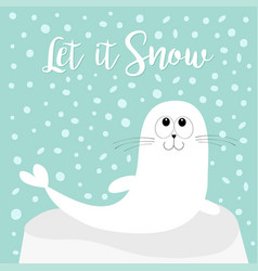 Let it snow white sea lion harp seal pup lying on vector