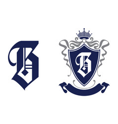 letter b in shield with crown vector image