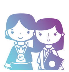 line teacher with student to class education vector image