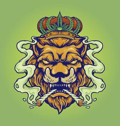 Lion king smoke weed mascot vector