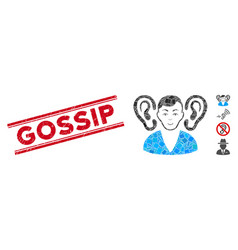 Listener mosaic and grunge gossip seal with lines vector