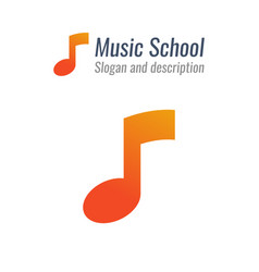 logo for music school with musical note with vector image