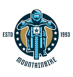 logo mountain bike a cyclist coming down the vector image