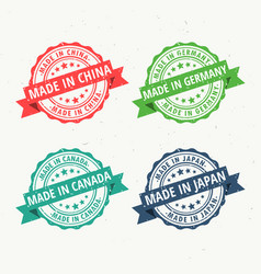 made in china germany canada and japan rubber vector image