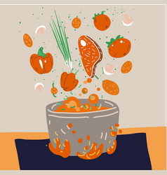 Making soup concept pot with bulbing vector