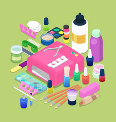manicure and pedicure isometric tools vector image