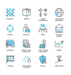 marketing environment icon collection set vector image