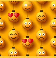 merry christmas yellow balls with cute face vector image