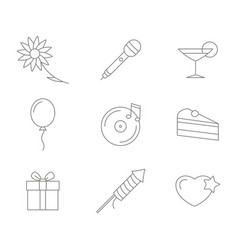monochrome set with line party icons vector image