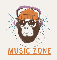 Music fan hipster monkey vector