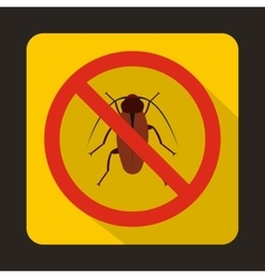 No cockroach sign icon flat style vector image