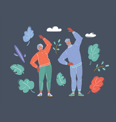 old couple jogging together doing exersice on dark vector image