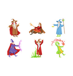 Old wizard characters set male magician or vector