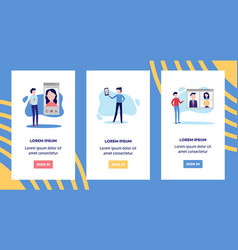 online video call chat conference banners set vector image