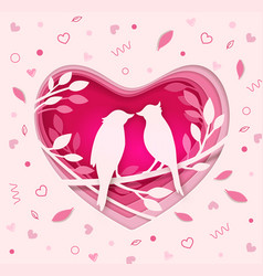 paper pink heart with two birds vector image