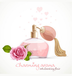 perfume with charming aroma in bottle isolated on vector image