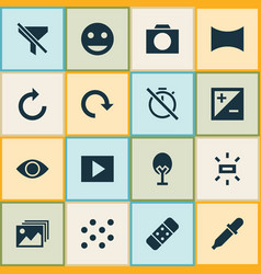 picture icons set with remove red eye tag face vector image
