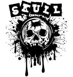 pierced skull on grunge splash vector image vector image
