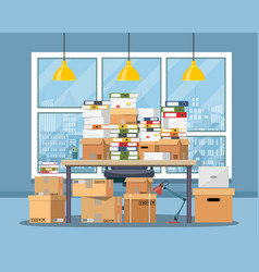 pile of paper documents on office table vector image