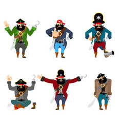 Pirate set poses and motion filibuster happy and vector