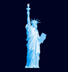 Polygonal statue liberty in blue 3d vector