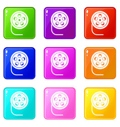 Reel with film icons 9 set vector