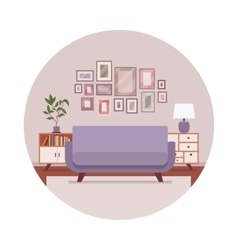 Retro interior with a sofa sideboard pictures vector image