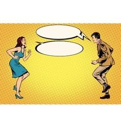 Retro man and woman dancing pop art vector