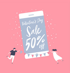 sale promotion valentine day on mobile phone vector image