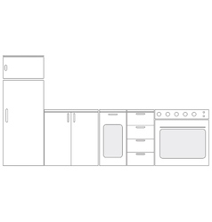 Schematic kitchen furniture vector